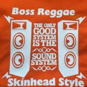 BOSS REGGAE SKINHEAD STYLE T-SHIRT ORANGE & WHITE